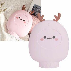 Sac d'injection d'eau de haute qualité Bouillotte en silicone sans danger Bureau de bouillotte de dessin animé pour la chambre à coucher à la maison(pink)