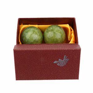 Sharplace 2pcs Boules de Massage Jade Naturel Chinois Exercice Main Rouleaux Boules Outils
