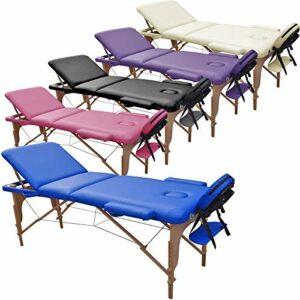 Table de Massage 3 Zones Classique Portables 180 x 56 cm. – ne pèse Que 13,3 kg. et avec Accessoires 14,5 kg. – Cosmetique lit esthetique Pliante Reiki + Sac – Bleu