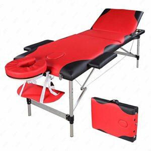 Table de Massage Pliante Professionnel en Aluminium, Lit Cosmétique 3 Sections Massage Portable Ergonomique, Rouge avec Bord Noir