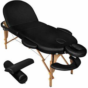 TecTake Table de Massage cosmetique lit de Massage 3 Zones Reiki Oval + Accessoires – diverses Couleurs au Choix – (Noir   No. 400192)