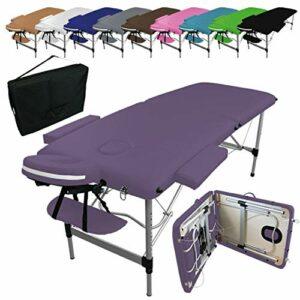 Vivezen ® Table de massage pliante 2 zones en aluminium + Accessoires et housse de transport – 10 coloris – Norme CE