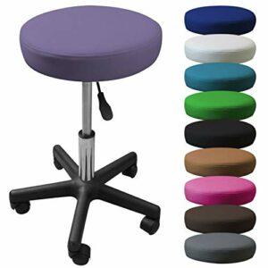Vivezen ® Tabouret rond à roulette réglable en hauteur de 45 à 62 cm et pivotable à 360° – 10 coloris – Norme NF EN 1022