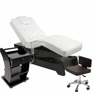 950208a Chaise longue électrique avec table d'appoint Noir/blanc