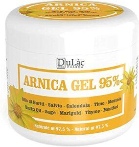 Arnica Gel 95%, 500 ml, Apaisant grâce à l'Arnica Montana, aux huile de Buriti, extraits de Sauge et de Calendula, à l'huile essentielle de Thym et au Menthol, Naturel 97,5%