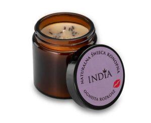 Bougie de chanvre India – 90 g – En cire de soja naturelle, avec huile de chanvre – Parfum lavande, clou de girofle et patchouli