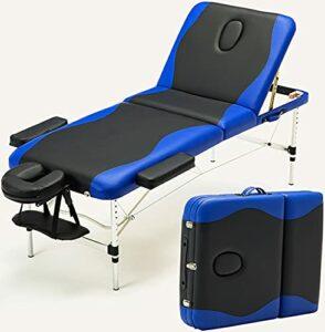 Canapé-Lit De Massage, Aluminium Pliant 3 Sections Spa Massage, Table De Beauté Table De Tatouage Facial Table De Salon De Haute Qualité PU, Mousse Multicouche Haute Densité De 8 Cm,Bleu