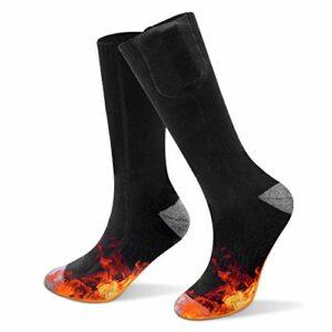 Chaussettes chauffantes, Chaussettes chauffantes à batterie électrique Hiver Foot Warmer Hommes Femmes Chaussettes thermiques pour le sport de plein air Randonnée Chasse Ski Camping (38 ℃ -55 ℃)(UE)
