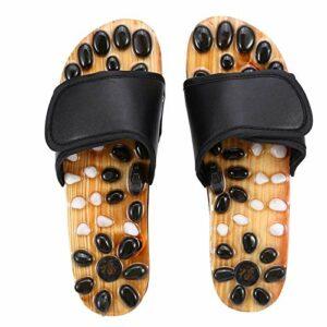 Chaussons de massage des pieds chaussons de massage de soins de santé tapis de masseur d'acupression pour soulager la douleur(39-Noir)