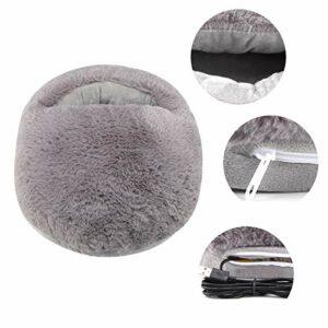 Coussin chauffe-pieds USB, pantoufles chauffantes oreiller de pied pour bureau d'hiver(gray, 12)