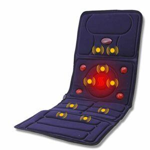 Coussin de massage par vibration, 10 moteurs de vibration et 4 coussins chauffants pour thérapie avec matelas de massage complet du corps pour épaules hanche et dos, soulagement de la douleur,Bleu