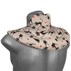 Coussin de nuque avec col montant – Mimi le chat – Coussin aux noyaux de cerises – Coussin épaules et cou – Coussin chauffant (chaud ou froid)