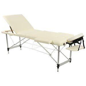 Emoshayoga Table de Massage Lit de Canapé Léger 3 Sections Lit de Beauté Pliable Haut de Gamme en Cuir PU Canapé de Beauté Spa avec Sac de Transport Beige