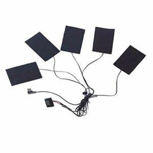 JIALUN 1set USB Chargements Chauffage Coussin Chauffant 5 en 1 Tampon de Chauffage en Fibre de Carbone Tampons Chauffants Chauffants électriques pour Veste de Gilet (Size : Heating Sheet)