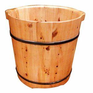 JPL Seau de bain de pieds en bois naturel – 37 cm de haut – En bois de cèdre – Avec pieds à bulles unilatérales – En mousse