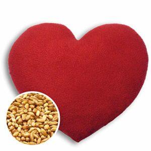 Leschi COUSSIN CHAUFFANT soulage les maux de dos et de ventre/bouillote pour micro-ondes/coussin en graines de blé pour femmes, enfants et bébés (coliques) / Cœur, grand, rouge