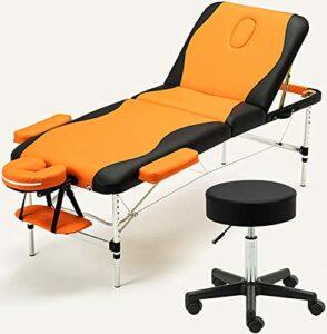 Lit De Massage Portable Et Ensemble De Tabourets Roulants, Lit De Lit D'esthéticien Pliant Professionnel, Hauteur Réglable Table De Salon De Tatouage Facial, 3 Section De Massage Spa,Orange