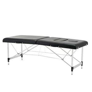 Lzcaure Table de massage pliante portable pour femme enceinte, salon de beauté, salon de tatouage en cuir – Table de massage pour le visage – Taille unique – Couleur : noir