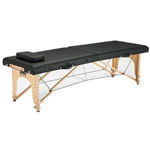 Lzcaure Table de massage pliante pour salon de beauté, spa, tatouage, meubles en bois de hêtre, PVC, cuir, patio, visage, réglable, portable, table de massage (taille : taille unique, couleur : 1)