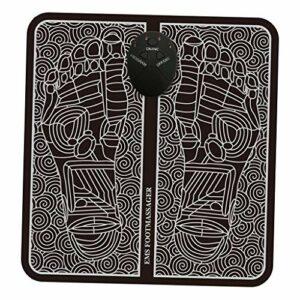 Milageto Masseur de pieds EMS, Massage de pieds de stimulateur musculaire électronique pliant Portable favorisant la Circulation sanguine pour les personnes – Type de batterie