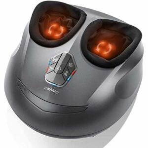 Naipo Appareil de massage des pieds électrique Shiatsu avec 3 niveaux d'intensité réglables Rouleau chauffant et compression contre les pieds fatigués pour la maison, le bureau