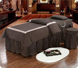N&O Renovation House Set of Four Beauty bedspreads Solid Color Cotton Massage Bedspread with Massage Bed for Cave Massage Bed 190×80 cm (75×31 inches)