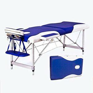 N&O Tables de Massage pour Maison de rénovation Blanc et Couleur Bleue 6CM éponge Remplissage Portable 500KG Cadre en Alliage d'aluminium Table de Massage Pliante réglable en Hauteur Convient pour Le