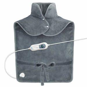 RENPHO Coussin chauffant pour soulager la douleur de dos, 60 x 90 cm pondéré Coussin chauffant pour le cou et les épaules, Faste-chauffage avec 3 réglages de température, Gris