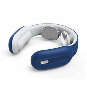 SMSOM Masseur de Cou Intelligent avec HEA, 3 Modes 15 Vitesse Masseur d'impulsion électrique pour soulagement de la Douleur, Cadeaux Portables sans Fil pour Hommes, Femmes (Color : Blue)