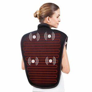Snailax Coussin Chauffant pour Cou et épaule – Masseur electrique avec Chauffage rapide et 5 modes de massage par vibration, Grande taille coussin chauffant pour soulagement des douleurs chroniques