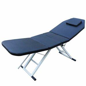 Table de massage pliable 3 zones avec surface en PVC et rembourrage en éponge, 3 zones avec appui-tête amovible, 182 x 60 cm (Noir)