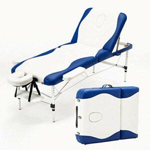 Tables de massage de maison de rénovation La table de massage pliable en alliage d'aluminium à trois plis et à quatre couleurs sélectionnables peut supporter une hauteur de 400 kg peut être ajustée