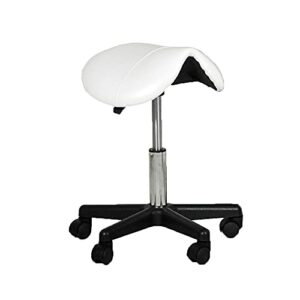 Tabouret de Bureau,Tabouret à roulettes Professionnel Rotation à 360°,Tabouret de Selle Hauteur Réglable pour Salon de Massage Cuisine Bureau Clinique Pub Couture Peintre Piano Blanc