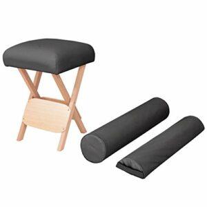 vidaXL Tabouret de Massage Pliant Siège 12 cm d'Epaisseur 2 Traversins Table de Massage Tabouret de Thérapeute Pliable Intérieur Noir