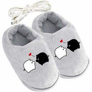 ZHANGXJ Portable 1 Paire Chauffe Pieds Électrique USB Rechargeable Peluche Doux Chaussures Coussin Chauffant pour Pantoufles l'hiver