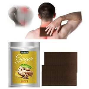 60pcs Ginger Patches for Pain, Herbal Ginger Body Relief Patch, Promote Circulation, Relieve Pain, Shoulder, Neck, Back, Lymphatic Drainage, Knee Joint