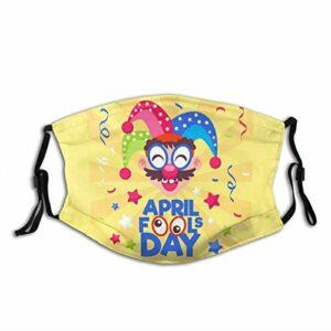 Bandana mignon et drôle pour le jour du mois d'avril, lavable et réutilisable pour adulte avec 2 filtres, pour homme et femme en plein air