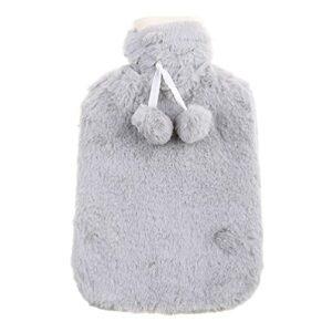 Bouillotte de 1800 ml avec housse en peluche, anti-brûlure, chauffe-mains pour dortoir, maison, petite taille, pour soulager la douleur