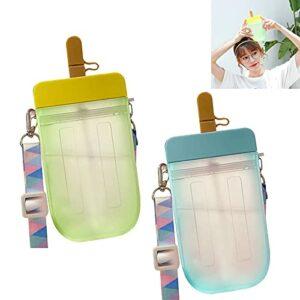 Bouteilles d'eau Mignonnes avec des pailles, Tasses créatives de Paille de Popsicle Kawaii, bandoulière réglable, adaptées aux Voyages Sportifs en Camping en Plein air, 10 oz (Color : Yellow+Blue)