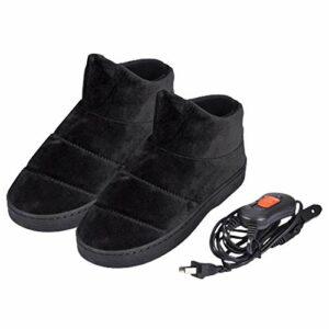 Chaussures Chauffantes Électriques Chauffe-Pieds, Pantoufles Chauffantes d'hiver en Peluche Chausson Chauffant avec Semelle en PVC Antidérapante Et 3 Niveaux De Température Réglables