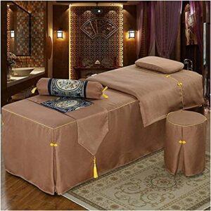 Chilechuan Spa Traitement Beauty Salon de massage Table de massage jupe lit, Simple Beauty Beauty Bed Cover Couverture Coton et Linge de linge Couvre-lit avec trou de repos – 70x190cm (28x75in)