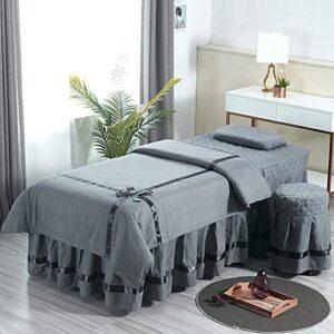 Chilechuan Spa Traitement Salon de beauté Salon de massage jupe de lit, jeux de tables de table de massage, jupe de table de massage en microfibre Set 4 pièces Beauty Bed Cover Couverture Salon de mas