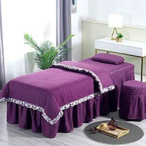 Chilechuan Traitement spa Salon de beauté Salon de massage jupe de lit, ensembles de tables de table de massage, jupe de table de massage en microfibre Set 4 pièces Beauty Bed Cover Couverture Salon d