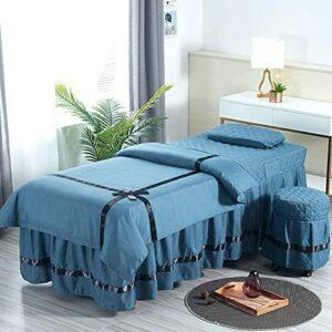 Chilechuan Traitement spa Salon de beauté Salon de massage jupe de lit, fiche de table de massage, jupe de table de massage en microfibre Set 4 pièces Beauty Bed Cover Couverture Salon de massage Lit