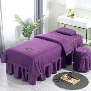 Chilechuan Traitement spa Salon de beauté Salon de massage Jupe de lit, jupe de table de massage en microfibre Set 4 pièces Beauty Bed Cover Couverture Salon de massage Lits de lit avec un trou de rep