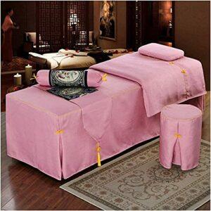 Chilechuan Traitement spa Salon de beauté Salon de massage Jupe de lit, Simple Beauty Beauty Bed Cover Couverture Coton et Linge de linge Couvre-lit avec trou de repos de visage-70x190cm (28x75in)