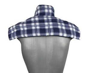 Coussin épaules et nuque avec col aux graines de lin – Coussin thermique – Bouillotte pour cervicales (Design: flanelle à carreaux – bleu)