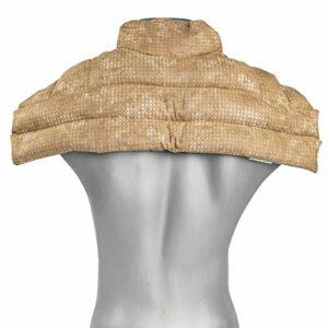 Coussin épaules et nuque avec col aux grains de blé – batik or- Coussin épaules, haut du dos et cou – Coussin thermique (chaud ou froid)