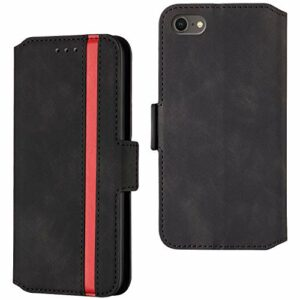 CrazyLemon Étui pour iPhone 6 Plus iPhone 6S Plus, Étui de Protection Antichoc à Rabat magnétique en Cuir PU à la Mode Simple Business Type – Noir
