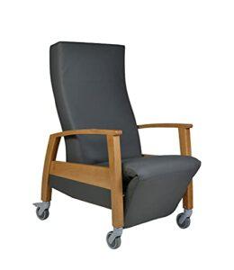 Devita Chaise de transport Ganda – Avec roulettes et poignée – Jusqu'à 120 kg – Réglable manuellement – Bois : hêtre foncé moyen – Revêtement : cuir synthétique anthracite